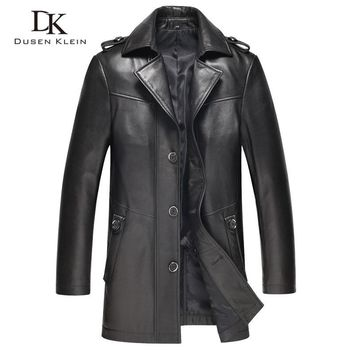 Genuine leather mens Jackets Dusen Klein leather jacket men Slim design Luxury male spring leather Coat sheepskin 61I1503