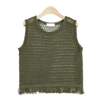 Tasseled See-Through Knit Vest