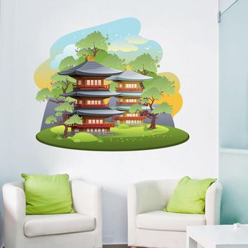 cik1516 Full Color Wall decal Japanese temple house nature children's bedroom sushi bar