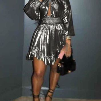 New Silver Pleated Cut Out Irregular Long Sleeve Cute Homecoming Party Mini Dress