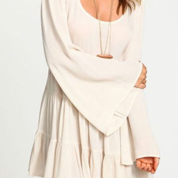 White Backless Long Sleeve Pleated Dress