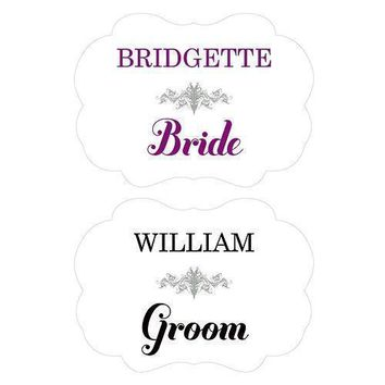 Personalized Bride and Groom Paper Chair Markers Berry (Pack of 1)