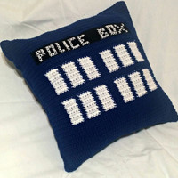 Crochet Police Box Pillow (Insert Included), TARDIS Pillow, Doctor Who Pillow, Crochet Pillow, Throw Pillow