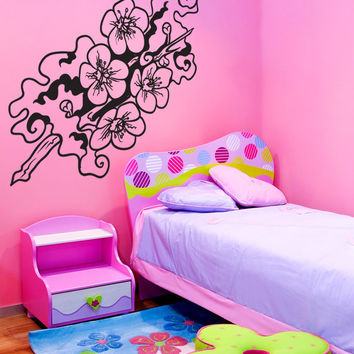 Vinyl Wall Decal Sticker Smoke Cherry Blossom Branch #1448