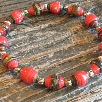 Paper Bead Bracelet, Red/Green/Brown Beaded Bracelet, Paper Bead Jewelry, Stretchy Bracelet, Stocking Stuffer, Gift for Women - Item# 054