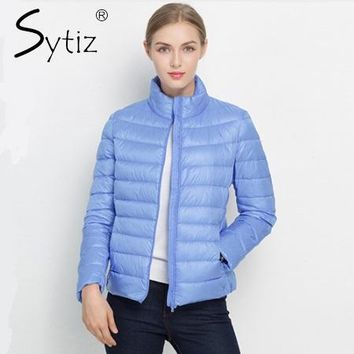 Sytiz 2017 Winter Down Coat Women Warm Chic Parkas Solid Stand 90% White Duck Long Sleeve Jackets Light Slim Autumn High Quality