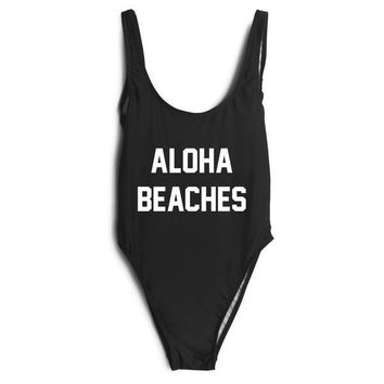 Plus Size Swimwear Women One Piece Swimsuits New Beach Padded Print Letter ALOHA BEACHES Vintage Retro Bathing Suits Swim Wear