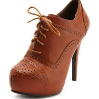 Lace-Up Leatherette Oxford Bootie: Charlotte Russe