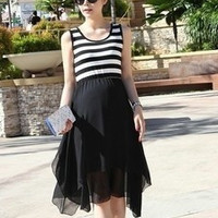 New Maternity clothing summer pregnant dress stripe sleeveless gravida skirt rib and chiffon Dress Perfect D1301 (Size: M) = 1946201924