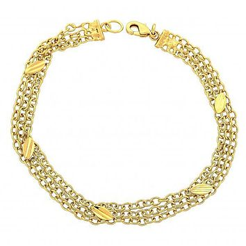 Gold Layered 03.63.0459 Fancy Bracelet, Leaf Design, Diamond Cutting Finish, Gold Tone