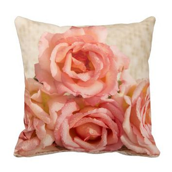 Soft pink roses pillows