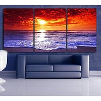 "LARGE 30""x 60"" 3 Panels Art Canvas Print Beach Sunset Wall (Included framed 1.5"" depth)"