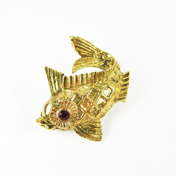 Vintage Fish Brooch in Gold Tone - Broche.