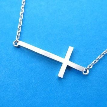 Classic Cross Shaped Sideways Bar Pendant Necklace in Silver