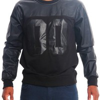 00 French Terry and PU Crew-Neck Sweater PF68