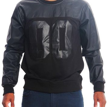 00 French Terry and PU Crew-Neck Sweater PF68 - R10D