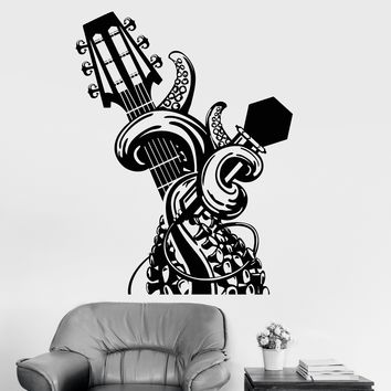 Vinyl Wall Decal Tentacles Guitar Music Musical Art Stickers Mural Unique Gift (ig3720)