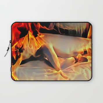 Flames in bedroom - erotic photography rework, sexy slave girl in submissive pose, BDSM cuffs on leg Laptop Sleeve by Casemiro Arts - Peter Reiss