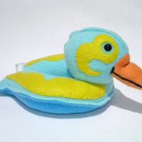 Stuffed duck pool toy with turquoise and yellow by mamamayberrys