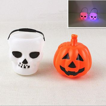 New Halloween Decor Skull Pumpkin Luminous LED LIght White Candy Kettles Witch Cauldron Halloween Party Hanging Props