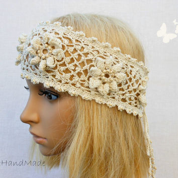 Irish Lace Crochet Headband Dreadlock Boho Wooden Beaded Women Ivory Wedding Bridal Cotton Hair Snood