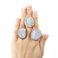 Big Agate Stone Slice Ring, Natural Stone Statement Ring, Striped Agate Jewelry
