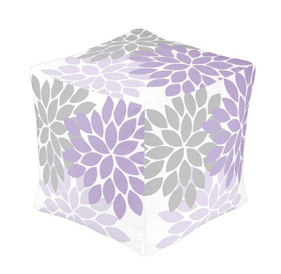 Throw Pillows With Matching Rug : OTTOMAN Pouf, Lilac Gray Nursery Decor, from TRMDesignShop on