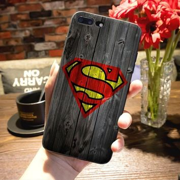 Fashion Style of Superman S Logo Marvel Avengers on Wood Phone case for iphone 4/5/5s/se/6/6s/6plue/7/7plus/8/8plus/x/Galaxy Not