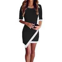 Janecrafts Women Fashion Colorblock Slim Fit 1/2 Sleeve Business Shealthy Tunic Pencil Dress
