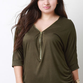 Zipper Quarter Sleeves Ruched Top