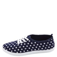 Lace-Up  Polka Dot Canvas Sneakers by Charlotte Russe - Navy Combo