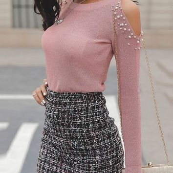 New Pink Cut Out Pearl Round Neck Long Sleeve Fashion T-Shirt