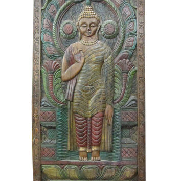 "India Wall Art Religion Abhaya Buddha Hand Craved Wall Panels 72"" X 36"""