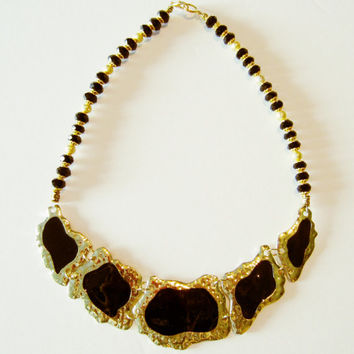 Gold bib necklace, black necklace, bib necklace, beaded necklace, egyptian necklace, cleopatra necklace, black statement necklace