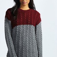 Tamsin Colour Block Cable Jumper