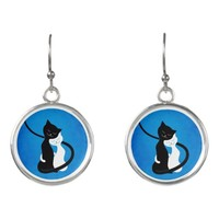 Customizable Background Hugging Love Cats Earrings