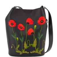 Stella McCartney Flower-Embroidered Bucket Bag, Black