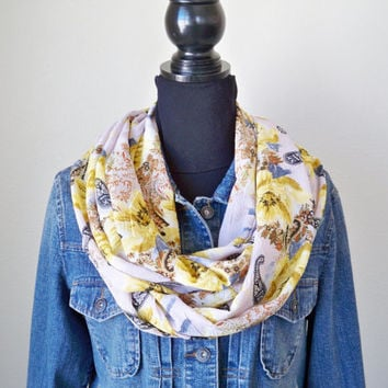 Floral Infinity Scarf, Boho Scarf, Paisley Infinity Scarf, Spring and Summer Scarf, Infinity Scarf