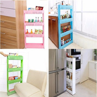 Moving Rack Kitchen Storage Shelf Wall Cabinets Bedroom Bathroom Organizer