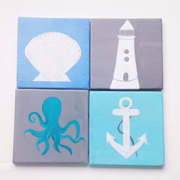 Beach Themed Ceramic Coasters - Hand-painted Beach Decor - Personalized Gift