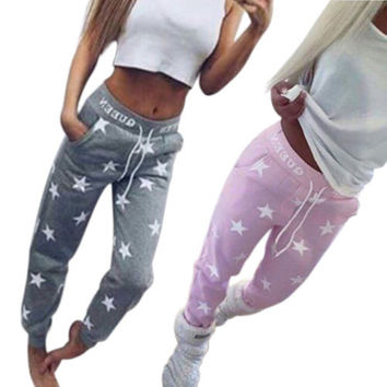 Womens Star Print Ladies Bottoms Waistband Tracksuit Jogging Joggers Pants Cool