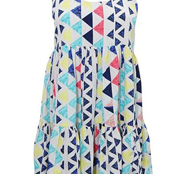 Mogul Interior Womens Sundress Printed Blue Crossback Flare Loose Summer Sexy Tank Dresses