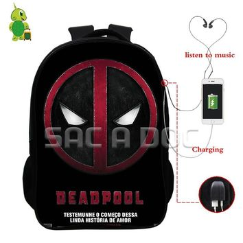Deadpool Comics Superheros Backpack Multifunction USB Charge Headphone Jack School Shoulder Bags for Teenagers Travel Rucksack