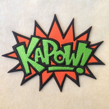 KAPOW Superhero Sound Attack Iron On Patch #Orange With Green