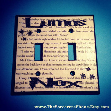 "HANDMADE. Harry Potter Inspired ""Nox Lumos"" DOUBLE On Off Light Switch Cover Plate REAL book Page! Glitter words Standard and Wide available"