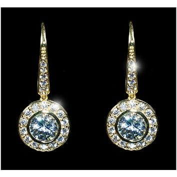 Elsa Round Halo Dangle Gold Earrings | 3ct | Cubic Zirconia | Gold