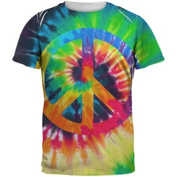 ONETOW Peace Sign Tie Dye All Over Adult T-Shirt