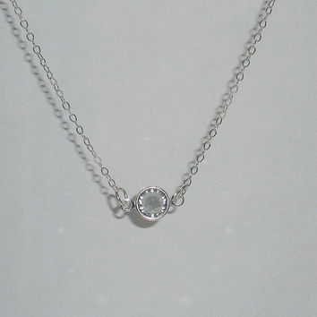 Small crystal necklace simple necklace delicate necklace sterling silver Giada necklace tiny crystal necklace swarovski crystal necklace