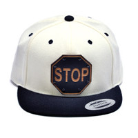 Stop Sign Wood Charm Snapback in White & Black