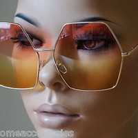 OVERSIZE VINTAGE HEXAGON RETRO Style SUN GLASSES Gold Frame Pink & Yellow Lens